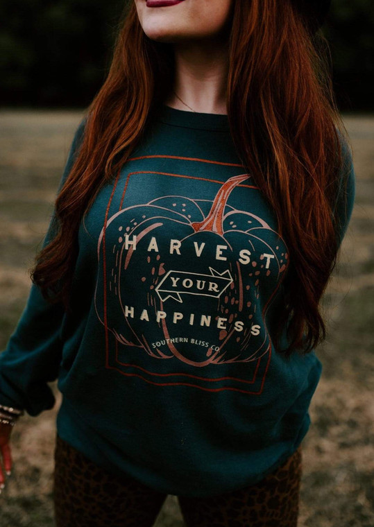 Harvest Your Happiness Sweatshirt, Fall Sweatshirt, May be a picture of Girl in long sleeve green cotton sweater with Pumpkin on front with lettering over top of pumpkin