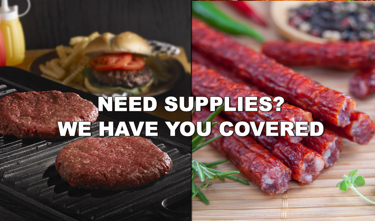 Need Supplies? We have you covered. Raw burger on grill and picture of bison jerky