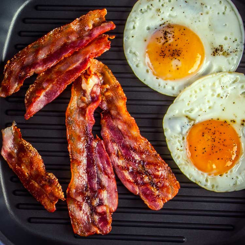 bacon and eggs in a skillet