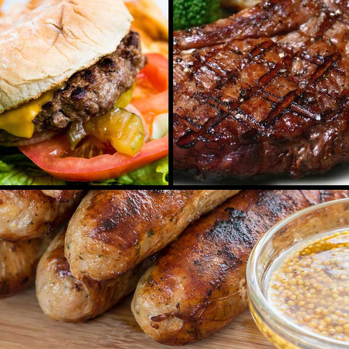 A sampler pack of game meat steak, burgers and bratwurst