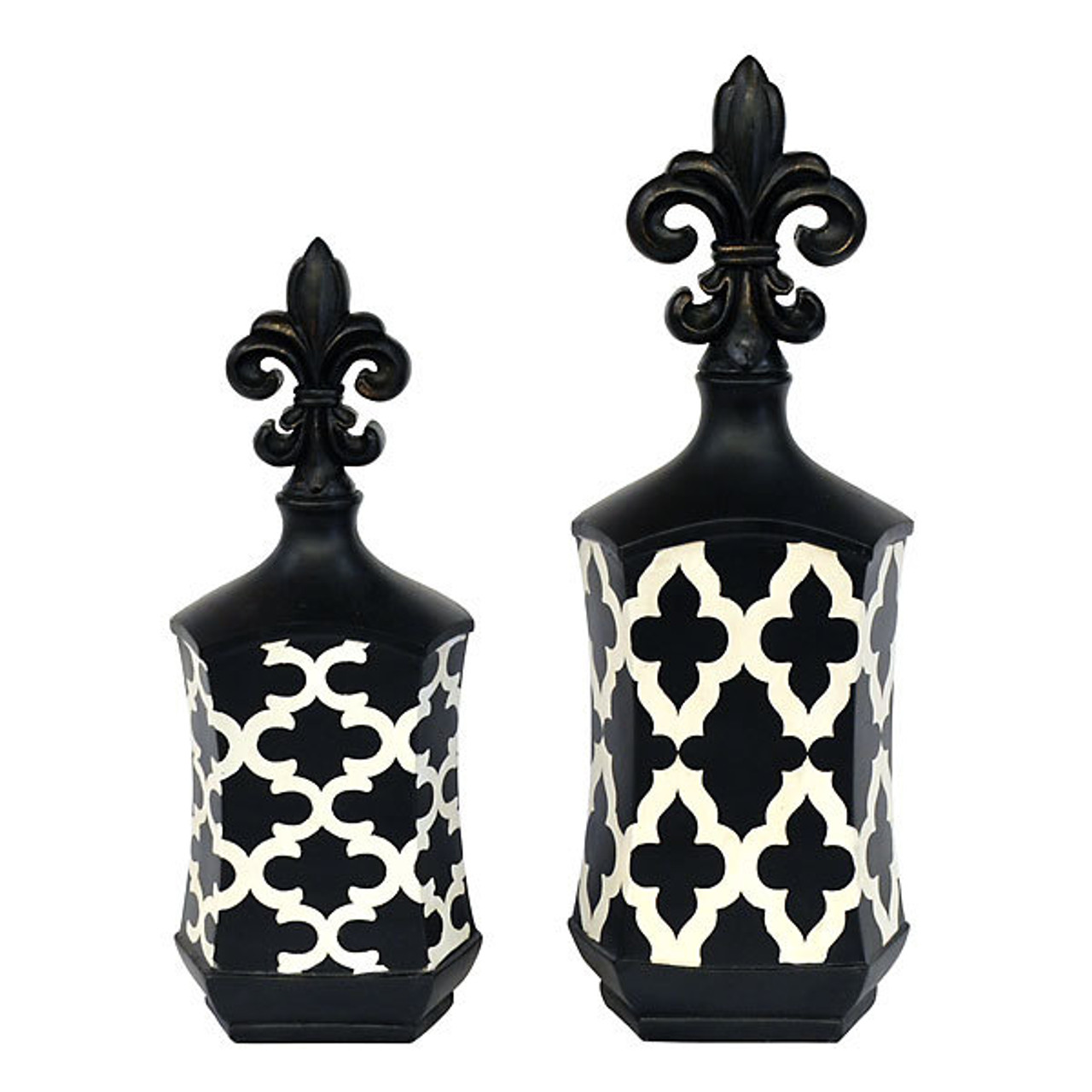 Set Of 2 Fleur De Lis Decor Accents Figurines Black White Annie Rooster S Sally Ann S Antiques Collectibles And More