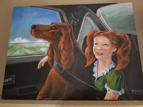 """""""Shauna and Her Setter"""" Large Artwork on Canvas (40x30)"""