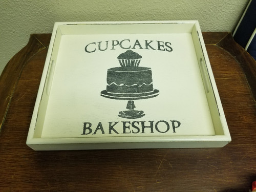 Cupcake Bakeshop Chic Wooden Tray