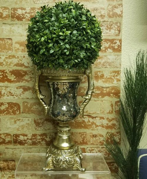 Large Ornate & Resin Mosaic Mirrored Decor Accent Vase/Urn