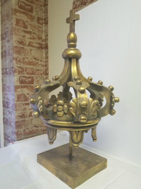 "24"" Tall Crown & Cross Sculpture - Large Accent/Conversation Piece"