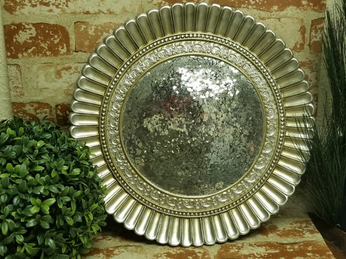 """16"""" Mosaic Mirrored Accent Charger Plate - Antique Silver Finish"""