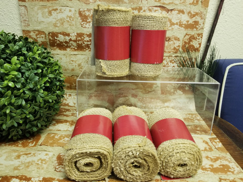 5 Rolls of Jute Burlap (5.5 in x 15 ft each) Natural Tan