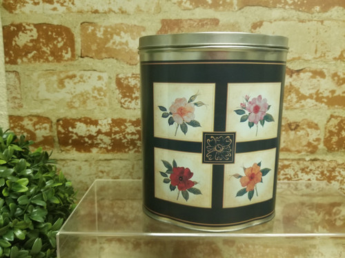 Decorative Tin Container - Matte Navy Blue with Floral Panels