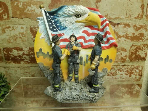 3D Resin Fireman Tribute United We Stand Collectors Plate Eagle American Flag