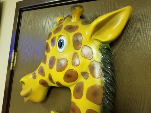 Rare Large Wood Giraffe Growth Chart Cartoon Life Like Statue