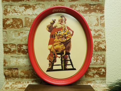 """1987 Coca Cola Metal Tray - 15"""" Oval Santa"""