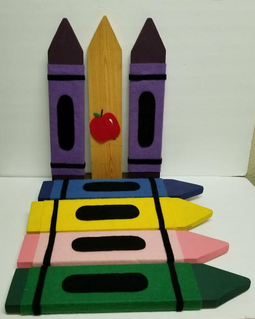 7 Pc Teacher/Crayon Wall Decor - Crayon Shaped Wood