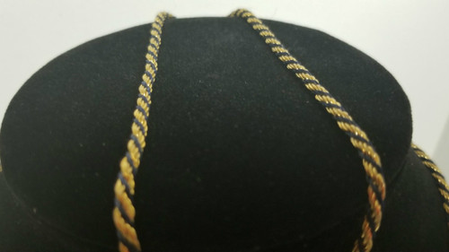 """30"""" Gold-Tone and Black-Cord Rope Chain/Necklace Vtg Trifari?"""