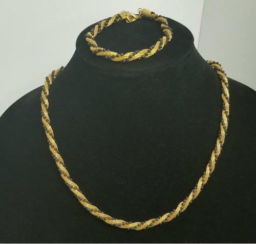 Matching Mesh Gold-Tone Roped & Beaded Black Necklace & Bracelet