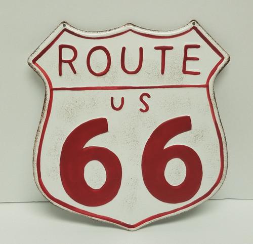Route 66 Nostalgic Shield Wall Decor Tin Sign - Red & White