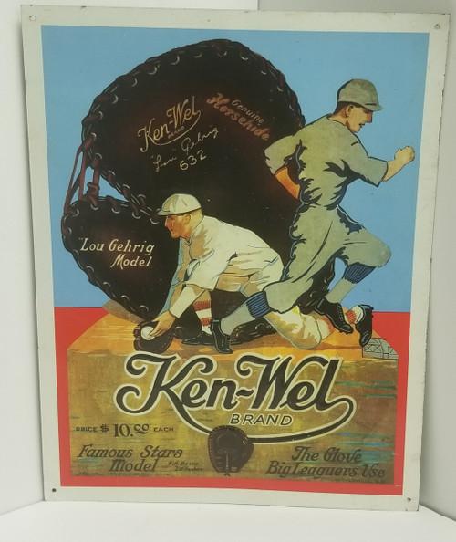 """""""Ken-Wel Brand"""" Vintage Metal Sign - Lou Gehrig Model"""