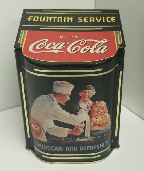 Coca Cola Slope-Lid Black  Nostalgic Fountain Service Tin Container