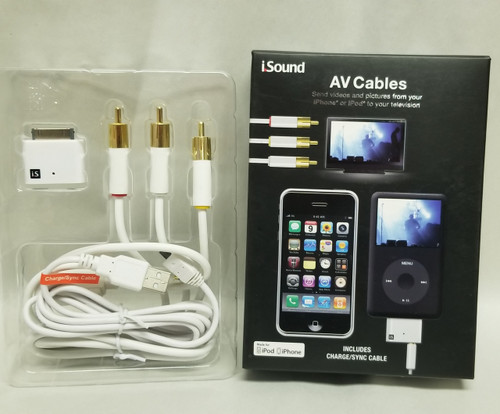 i.Sound AV Cables iPhone/iPod - Includes Charge/SYNC Cable - Video/Pictures to TV