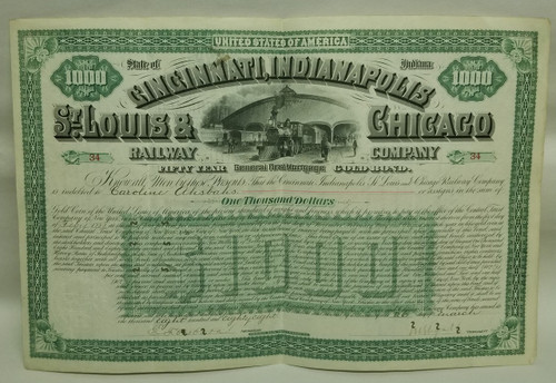 State of Indiana CINCINNATI, Indianapolis, ST. Louis & Chicago Railroad Company General First Mortgage Gold Bond
