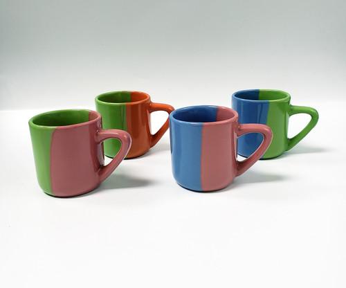 Set of 4 Hand-Painted Mini Coffee Mugs