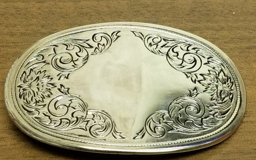 Silver Tone Acanthus Leaf Oval Belt Buckle