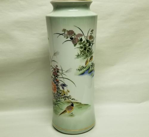 "12"" Japanese BOTAN Porcelain Vase w/ Pheasants & Flowers Scenery"