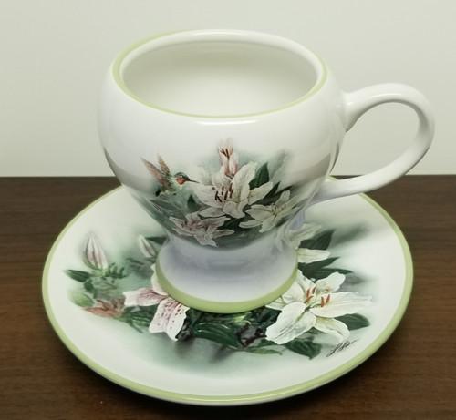 Lena Liu Hummingbird And Lilies Cup & Saucer