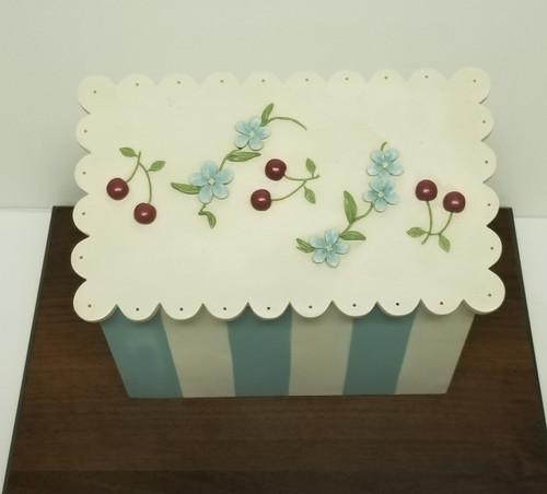 "Baby Blue & White ""Cherry Blossom"" Hinged Recipe/Trinket Box By Artisan Flair, Inc."