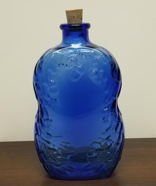 Cobalt Blue Acorn Themed Bottle w/Cork Top