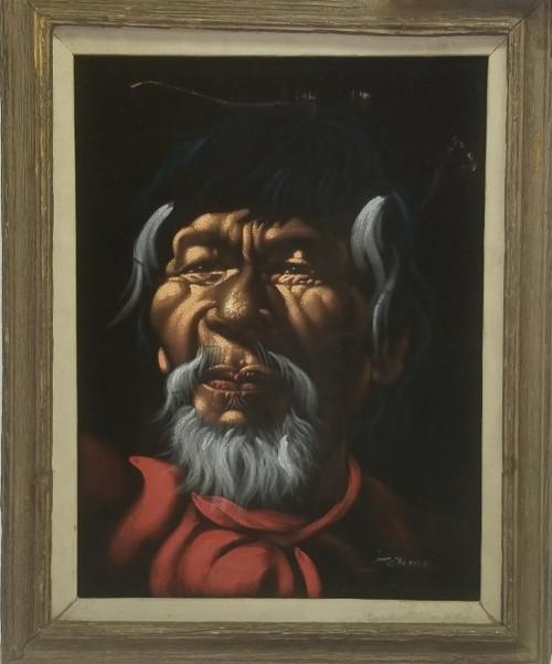 Vintage Framed Black Velvet Oil Painting ~ Bandito, Folk Artwork (SIGNED)