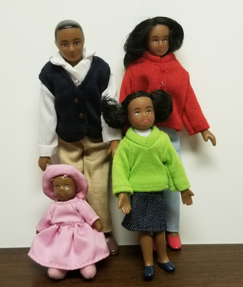 4 Pc African American (Black) Family 1:12 Scale Miniatures