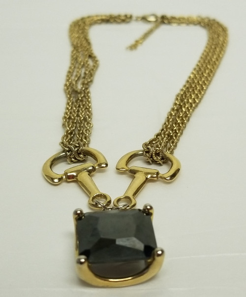 Gold Tone Choker-Link w/ Large Smokey Black Pendant