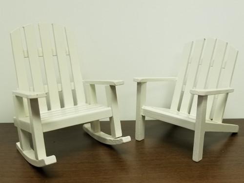 Miniature Dollhouse Adirondack Chair & Rocking Chair Set