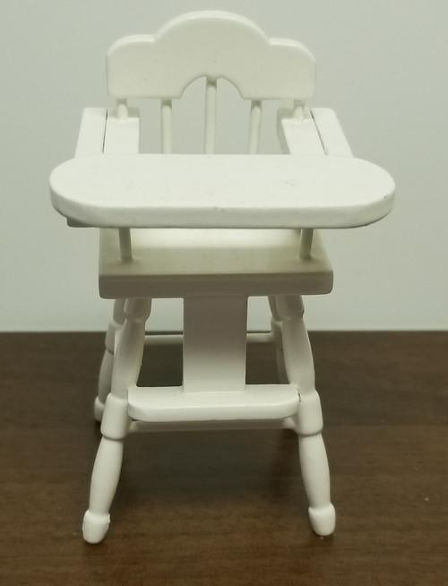 Miniature Dollhouse White Baby High Chair 1:12 Scale
