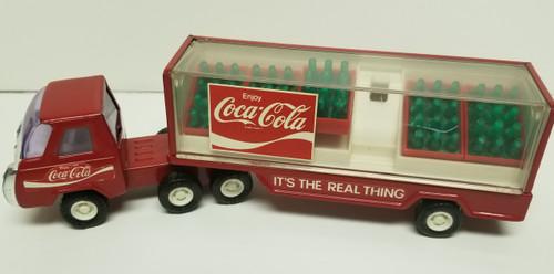 1980's Buddy L Coca Cola Semi-Truck w/Coca Cola Green Bottle Red Crates