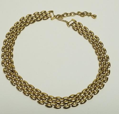 Vintage Gold Tone 5-Row Adjustable Necklace/Choker