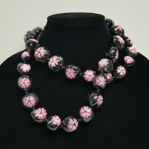 Kukui Nut Lei Hibiscus Pink Necklace Hawaiian Wedding Luau Graduation