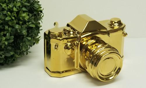 Over-Sized Gold-Tone Ceramic Camera Replica/Prop/Sculpture