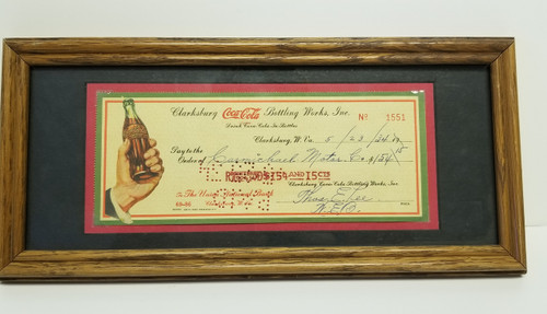 1934 Framed Coca Cola Canceled Check #1551 - Clarksburg