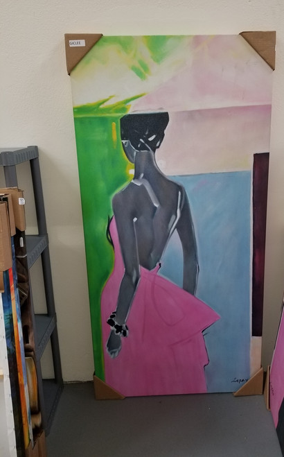 """Le Beau Giclee - Pink Dress Gallery Wrap - RARE 72"""" H Canvas"""