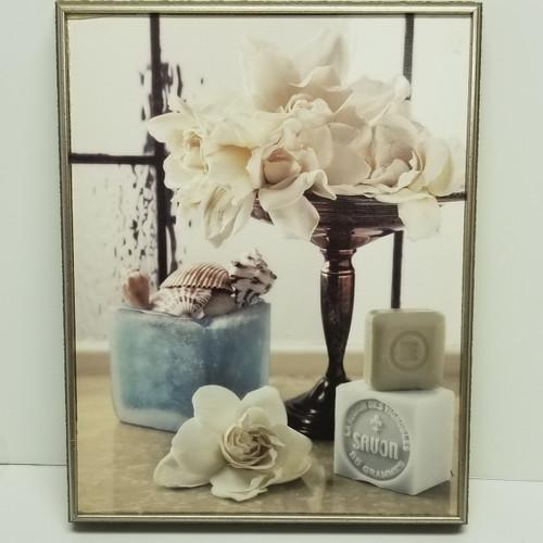SAVON Seashells, Soap & White Rose Framed Wall Decor/Art