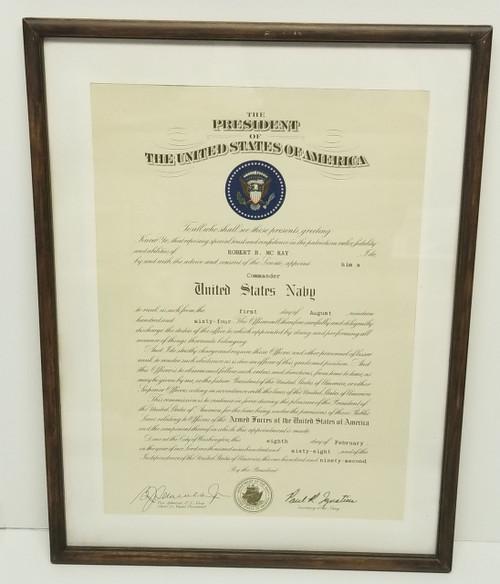 "1964-1968 NAVY ""COMMANDER Confirmation ""ROBERT B. MC KAY"" Framed Document"