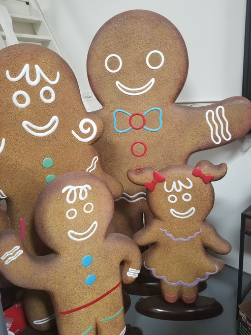 Life-Size Gingerbread Family- Father, Mother, Sister & Brother