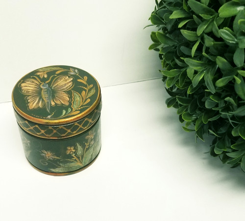 Small Round Hand-Painted Wood Trinket Box (Butterfly & Flowers)
