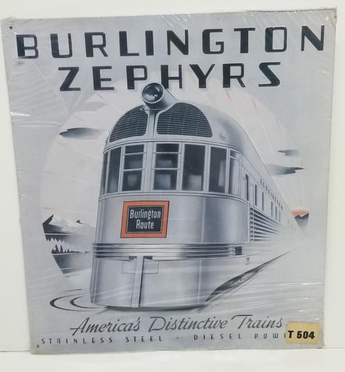 BURLINGTON ZEPHYRS 1992 Reproduction Train Sign