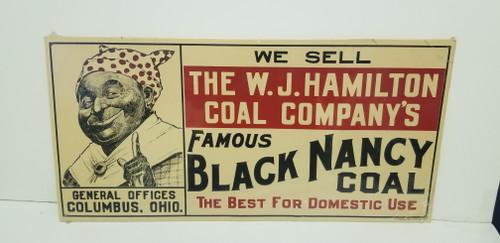 "W.J. Hamilton Coal Company ""Black Nancy"" Black Americana Metal Sign"