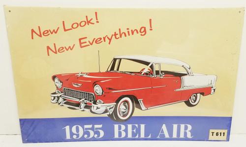 "1991 (SEALED) Embossed 1955 BEL AIR ""New LOOK!"" AAA Sign Co. Metal Sign"