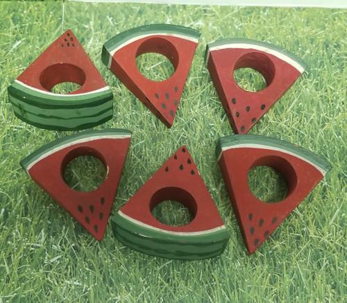 6 - Slice Watermelon Napkin-Holders - Wood Hand-Painted