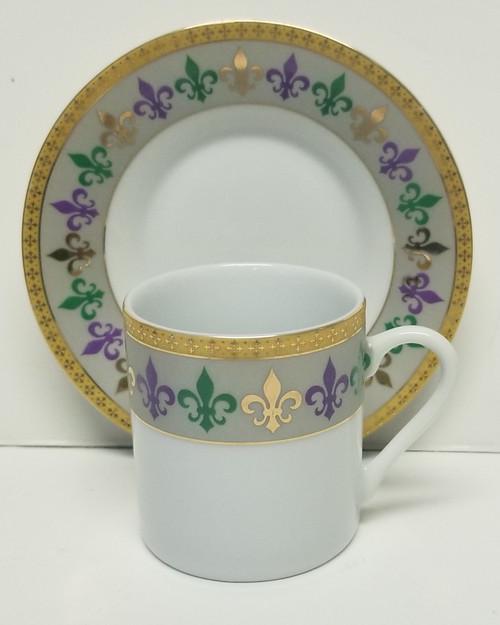 Mardi Gras Purple, Green, Gold Fleur De Lis Fine Porcelain Cup & Saucer