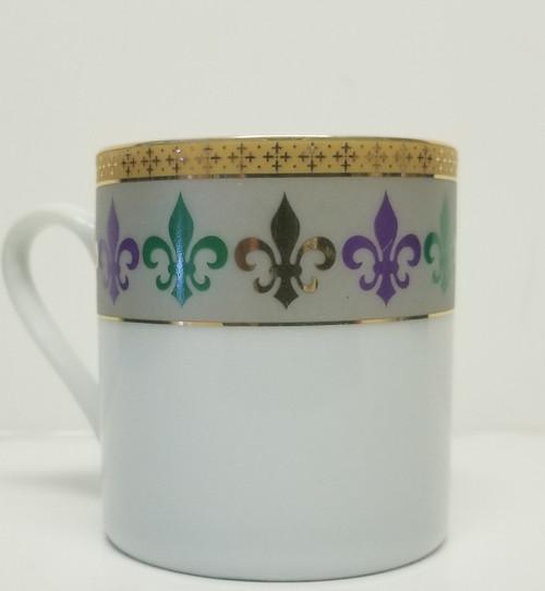 Mardi Gras Purple, Green, Gold Fleur De Lis Porcelain Cup